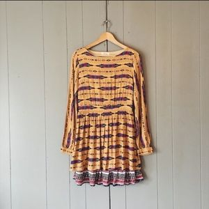 Boho Tribal Print Layer Mini Dress